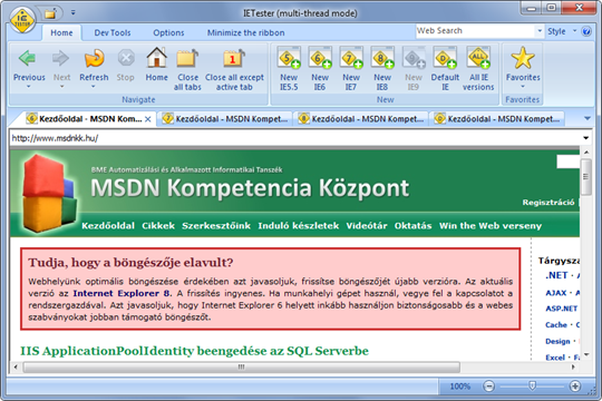 Az MSDN Kompetencia Központ honlapja IE 6 alatt IETesterben