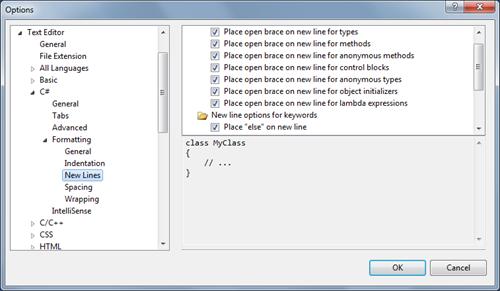 Visual Studio Text Editor beállítások