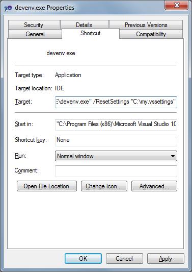 Visual Studio indítása ResetSettings kapcsolóval