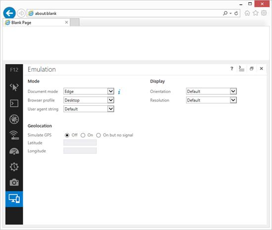 IE11 Developer Toolbar Emulation tab